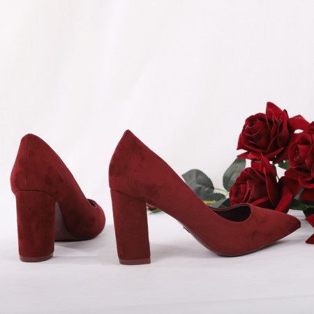 Pantofi cu toc cod OD0001 Wine - Pantofi cu toc gros și vârf ascuțit din piele ecologică întoarsă, foarte confortabili potriviți pentru birou sau evenimente speciale. - Deppo.ro