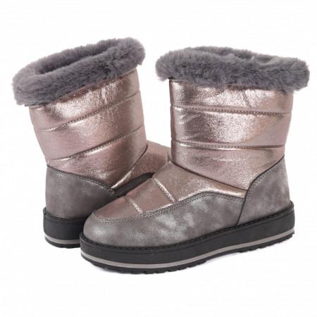 Cizme cod BF1837 Gri - Cizme pentru dame din piele ecologică cu interior îmblănit decorate cu sclipici, foarte călduroase ideale pentru sezonul rece - Deppo.ro