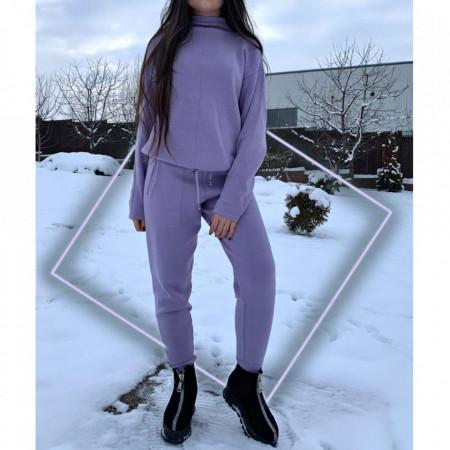 Compleu tricot damă Mov - Compleu pentru femei, compus din bluză, pantalon Material ușor elastic Pantalon cu buzunareoar  laterale - Deppo.ro