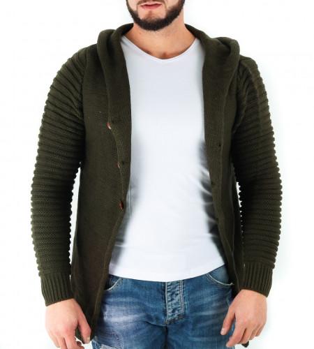 Jerseu Amir Verde Închis - Este o haină de iarnă pentru bărbați foarte lejeră și călduroasă,se închide cu nasturi, de culoare verde cu mâneci lungi și dispune de o glugă - Deppo.ro