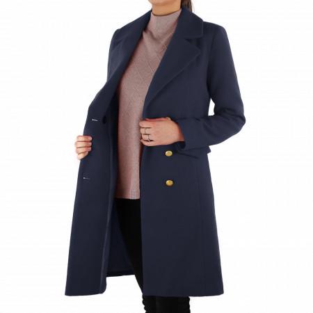 Palton Monica Bleumarin - Palton elegant cu închidere cu nasturi, căptușit pe interior. Îmbracă-l la rochii sau ținute office și asortează-l cu o pereche de mănuși din piele pentru un plus de eleganță. - Deppo.ro