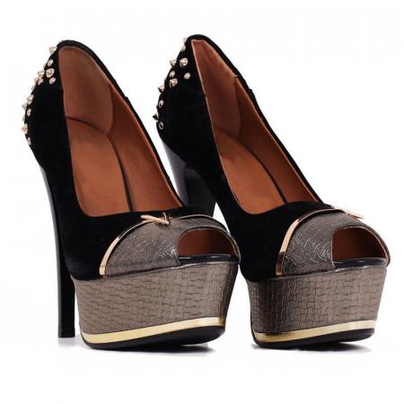 Pantofi cu toc cod B3 Negri - Pantofi cu toc înalt și platformă, din piele ecologică decorași cu ștrasuri - Deppo.ro
