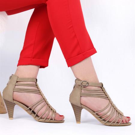 Pantofi cu toc pentru dame cod B563 Bej - Pantofi cu toc pentru dame din piele ecologică - Deppo.ro