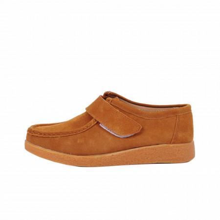 Pantofi din piele naturală cod 85181 Camel - Pantofi pentru dame din piele naturală întoarsă cu talpă flexibilă - Deppo.ro