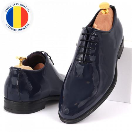 Pantofi din piele naturală pentru bărbați cod 913 Navy - Pantofi din piele naturală, model simplu, finisaje îngrijite cu undesign deosebit - Deppo.ro