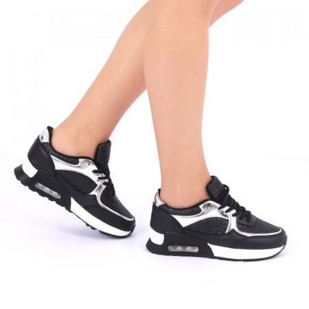 Pantofi Sport Ace Black - Pantofi sport albi din material textil respirabil cu vârf rotund și talpă din silicon flexibilă si confortabilă - Deppo.ro