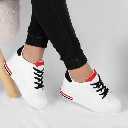 Pantofi Sport cod 23-20 Albi - Pantofi sport din piele ecologică cu un calapod comod, închidere cu şiret. - Deppo.ro