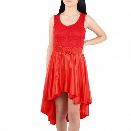 Rochie Arabella Red - Rochie roșie elegantă cu un decolteu generos și dantelată, pune-ți silueta în evidență și atrage toate privirile - Deppo.ro