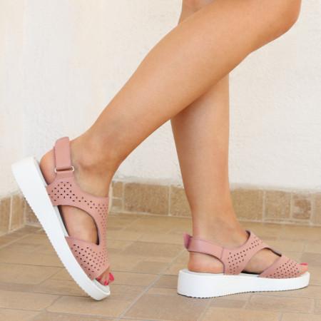 Sandale pentru dame din piele naturală cod PL-2018-Pink - Sandale pentru dama din piele naturală  Închidere prin arici lateral Calapod comod - Deppo.ro