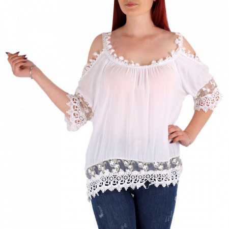 Bluză pentru dame cod 1124 White - Bluză pentru dame Conferă o ținută lejeră de vară - Deppo.ro