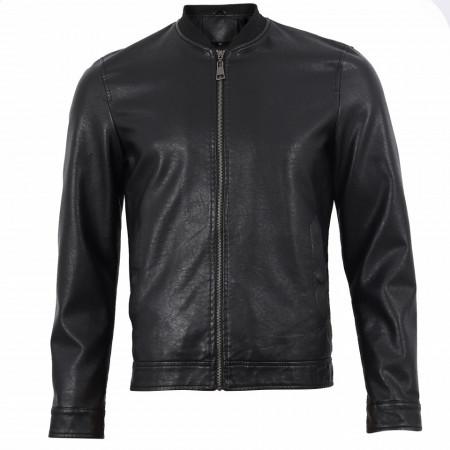 Geacă din piele ecologică pentru bărbați cod TG-2768 Neagră - Geacă din piele ecologică pentru bărbați model primăvară-toamnă pe negru - Deppo.ro