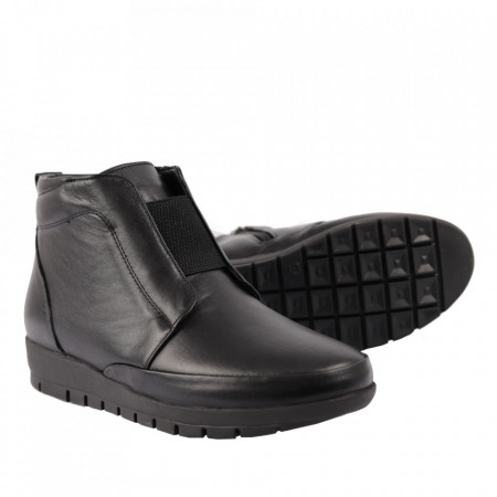 Ghete din piele naturală pentru dame cod 206 Black - Ghete din piele naturală Interior cu căptușeală Închidere prin fermoar - Deppo.ro