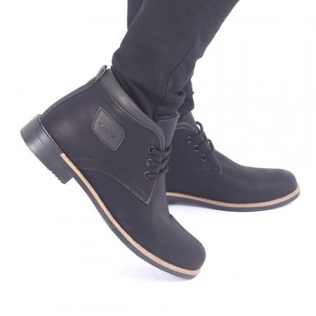 Ghete pentru bărbați 43198 Negre - Produs din piele ecologică, foarte confortabili cu un calapod comod și închidere cu șiret - Deppo.ro