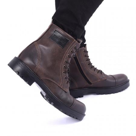 Ghete pentru bărbați cod 49351 Maro - Produs din piele ecologică cu închidere cu șiret și fermoar - Deppo.ro