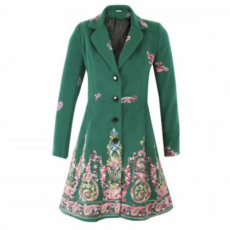 Palton Renata Green - Palton elegant cu închidere cu nasturi, căptușit pe interior. Îmbracă-l la rochii sau ținute office. - Deppo.ro