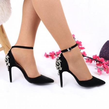 Pantofi Cu Toc Anette Black - Pantofi decupați tip sanda din piele ecologică, foarte confortabili cu un calapod comod și un decor deosebit de elegant - Deppo.ro