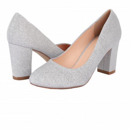 Pantofi cu toc cod 5348 Arginti - Pantofi cu vârf rotund şi toc gros cu lungime de 7,5cm din piele ecologică cu sclipici, foarte confortabili cu un calapod comod - Deppo.ro