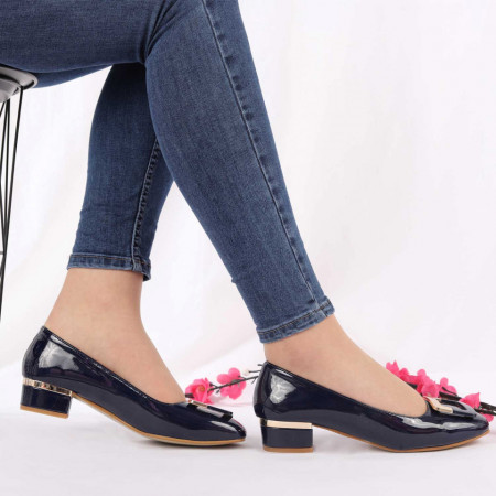 Pantofi cu toc cod AI28602 Navy - Pantofi cu toc gros din piele ecologică, foarte confortabili potriviți pentru birou sau evenimente speciale. - Deppo.ro