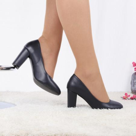Pantofi cu toc cod EK0010 Navy - Pantofi cu toc din piele ecologică cu un design unic, fii în pas cu moda şi străluceşte la următoarea petrecere. - Deppo.ro