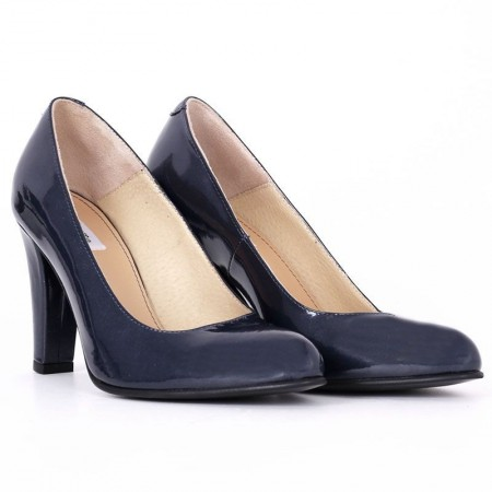 Pantofi cu toc cod EL620 Albaștri - Pantofi din piele ecologică lăcuităcu toc pătrat cu vârf rotunjit, confortul purtării este sporit de tălpicul din piele ecologică - Deppo.ro