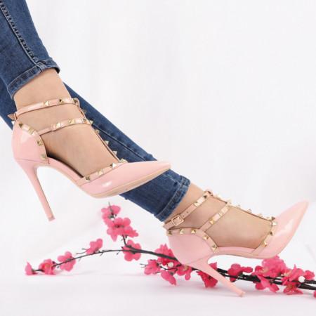 Pantofi Cu Toc cod JS7085 Roz - Pantofi cu toc din piele ecologică lăcuită cu închidere prin baretă Fii în pas cu moda şi străluceşte la următoarea petrecere. - Deppo.ro