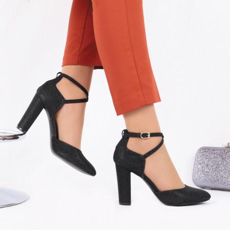Pantofi cu toc cod NA49 Negri - Pantofi decupați tip sanda cu vârf rotund din piele ecologică, închidere prin baretă, calapod comod - Deppo.ro