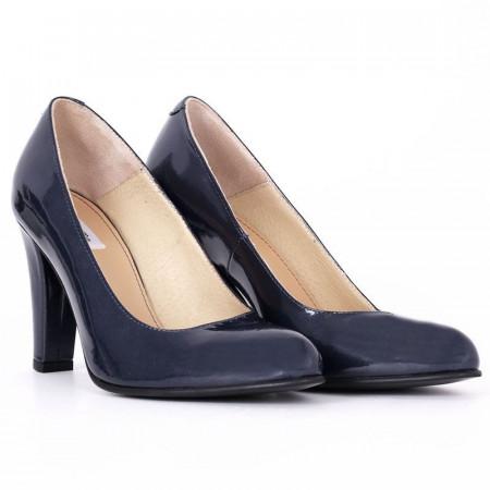 Pantofi Cu Toc Eli - Pantofi din piele ecologică lăcuităcu toc pătrat cu vârf rotunjit, confortul purtării este sporit de tălpicul din piele ecologică - Deppo.ro