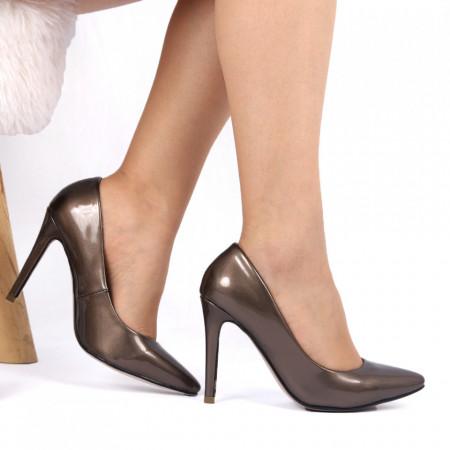 Pantofi cu toc pentru dame DW3041 Maro - Pantofi cu toc pentru dame din piele ecologică lăcuită  Conferă lejeritate și eleganță - Deppo.ro
