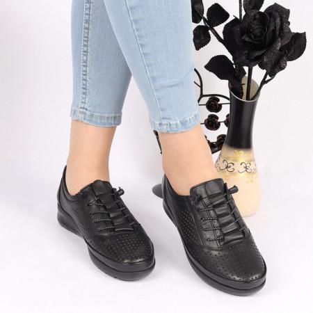 Pantofi din piele naturală negri Cod 1043 - Pantofi damă din piele naturală Închidere cu şiret Calapod comod - Deppo.ro