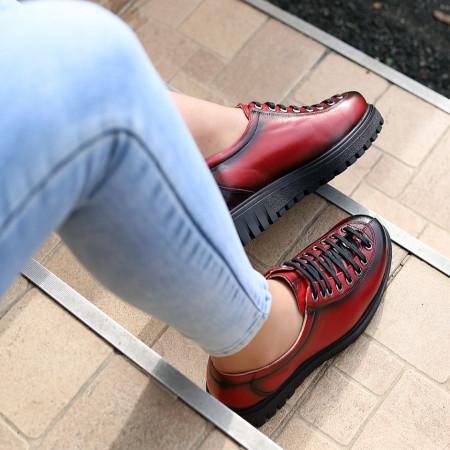 Pantofi din piele naturală Vişini Cod 66380 - Pantofi pentru dame din piele naturală Închidere cu şiret Calapod comod - Deppo.ro