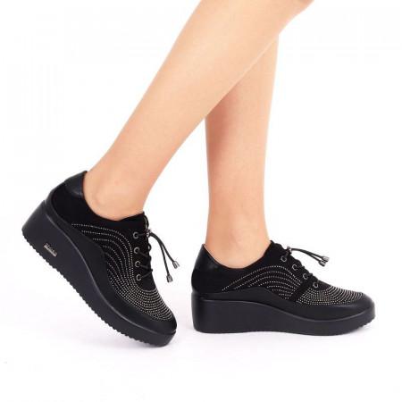 Pantofi pentru dame cod 176853 Negri - Pantofi din piele ecologică cu închidere prin șiret - Deppo.ro