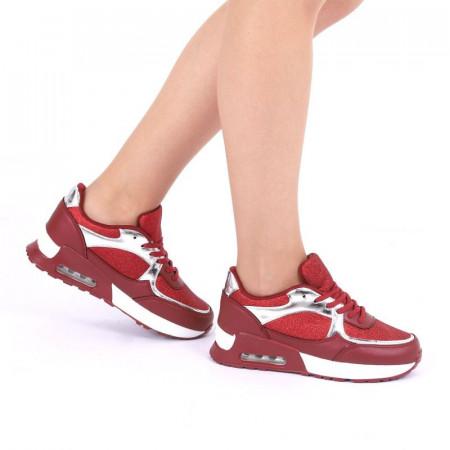Pantofi Sport Ace Red - Pantofi sport albi din material textil respirabil cu vârf rotund și talpă din silicon flexibilă si confortabilă - Deppo.ro