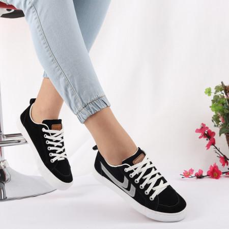 Pantofi Sport Ellen Black - Pantofi sport pentru dame foarte comozi și ușori -piele ecologică întoarsă cu închidere prin șiret - Deppo.ro