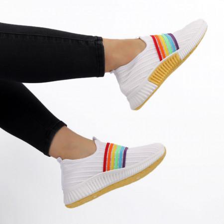 Pantofi Sport pentru dame Cod HQ-10-59 White - Pantofi sport pentru dame ,dinpanză, talpă din spumă  Foarte ușori și comozi  Închidere prin șiret. - Deppo.ro