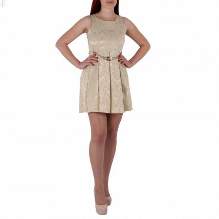 Rochie Aimee Bej - Rochiebejpană deasupra genunchilor, cu imprimeuri șicurea decorativăcompletează-ți ținuta și strălucește la următoarea petrecere. - Deppo.ro