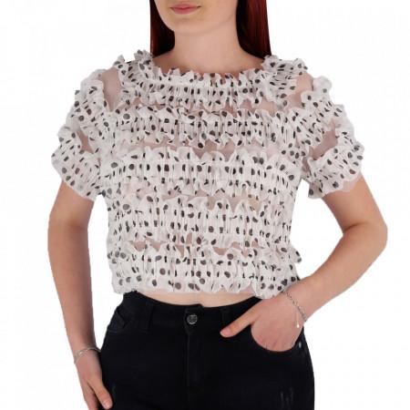 Tricou pentru dame cod P8875 White - Tricou pentru dame  Model cu volănașe  Conferă lejeritate si o ținută casual - Deppo.ro