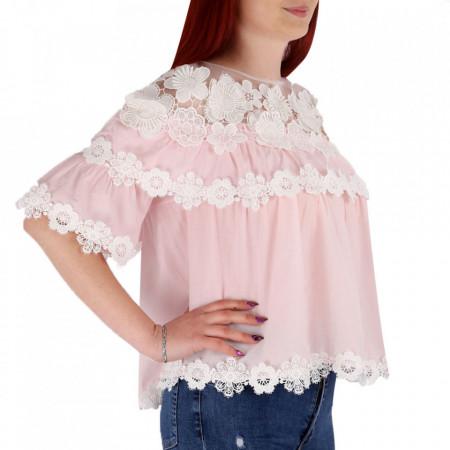 Bluză pentru dame cod 1225 Pink - Bluză pentru dame Conferă o ținută lejeră de vară - Deppo.ro