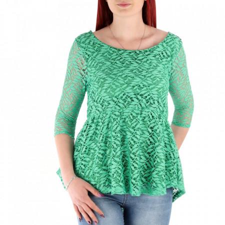Bluză pentru dame cod 5315 Verde - Bluză pentru dame Model decorativ cu dantelă - Deppo.ro