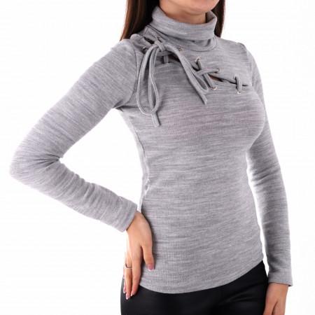 Bluză Tina Grey - Bluză pentru dame cu mânecă lungă, pe gât decor cu şnur - Deppo.ro