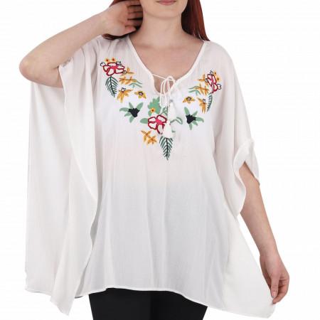Bluziță tip iie tradițională Andreea - Bluziță tip ie cu motive florale, un design tradițional care poate fii purtată atât cu o pereche de pantaloni lungi cât și la o fustiță - Deppo.ro