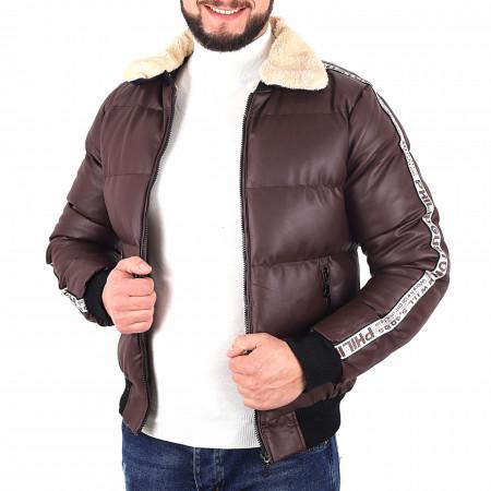 Geacă Philip Grena - Geacă cu guler îmblănit din piele ecologică pentru iarnă/primavară, interior căptuşit buzunare laterale și închidere cu fermoar. - Deppo.ro
