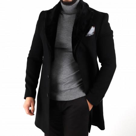 Palton Ramos Negru - Palton negru cu guler rever, închidere la un singur rând de nasturi, captuşeală satinată, doua buzunare laterale inserate, buzunar cu fermoar pe partea stângă. Compoziţie 80% lână, 20% poliester - Deppo.ro
