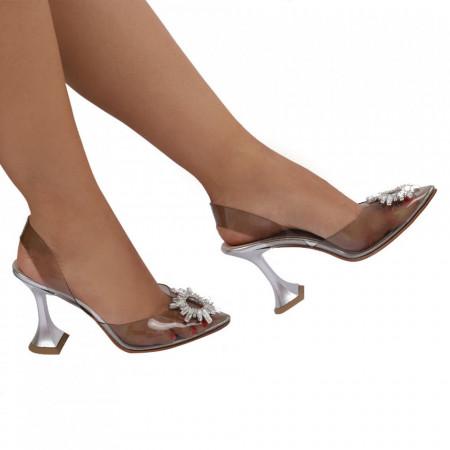 Pantofi Cinderella Silver - Pantofi cu toc cu un model deosebit din piele ecologică, foarte confortabili potriviți pentru birou sau evenimente speciale. - Deppo.ro