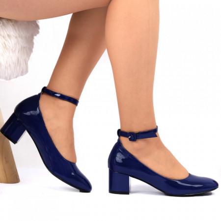 Pantofi cu toc Cod 4512 - Pantofi pentru dame din piele ecologică lăcuită  Închidere prin baretă  Conferă lejeritate și eleganță - Deppo.ro