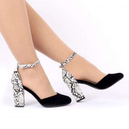 Pantofi cu toc cod 92022A Negri - Pantofi decupați tip sanda cu vârf și toc ascuțit din piele ecologică, foarte confortabili cu un calapod comod - Deppo.ro
