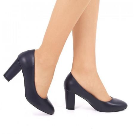 Pantofi cu toc cod EK0010 Bleumarin - Pantofi bleumarin din piele ecologică de înalta calitate cu vârf rotund şi toc pătrat şi vârf rotunjit - Deppo.ro