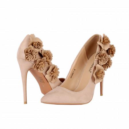 Pantofi cu toc cod HR15005F Bej - Pantofi cu toc ascuțit din piele ecologică întoarsă în combinație cu material tip dantelă, culoare neagră cu o fundiță de decor - Deppo.ro