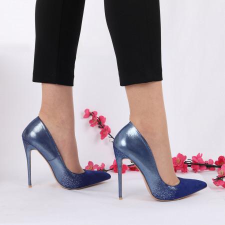 Pantofi cu toc cod LMD003 Albaștri - Pantofi cu toc din piele ecologică cu model cu sclipici Fii în pas cu moda şi străluceşte la următoarea petrecere. - Deppo.ro