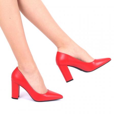 Pantofi cu toc cod OD0134 Roși - Pantofi din piele ecologică, cu vârf ascuţit şi toc subţire, foarte confortabili cu un calapod comod - Deppo.ro