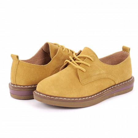 Pantofi din piele naturală cod 65521 Galbeni - Pantofi galbeni pentru dame din piele naturală cu talpă flexibilă - Deppo.ro